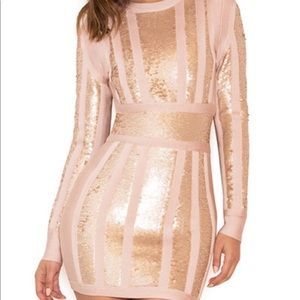 House of CB Massima pink and gold bandage dress